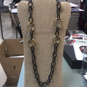 Black and Gold link Adjustable necklace